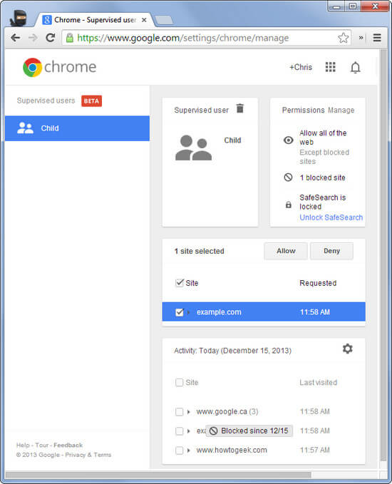 controles parentais do chrome
