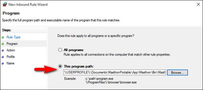 ruta de programa