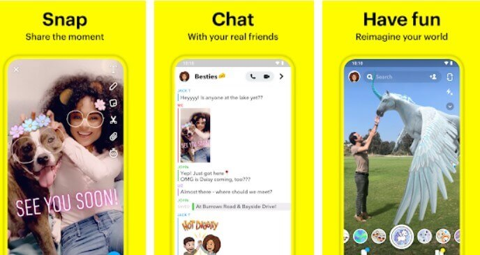 Snapchat popular social media app for teenagers and effects