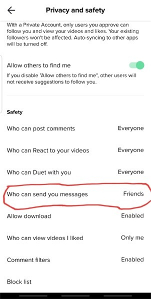 tap on: Who can send you messages option