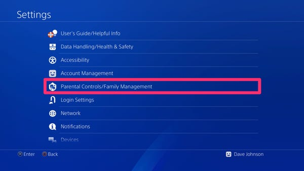 PS4 Parental Control Setting