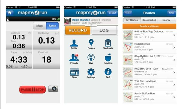 features of Mapmyrun GPS