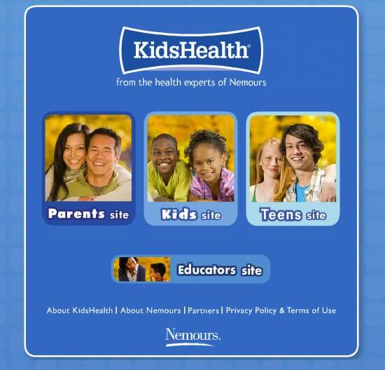 parenting websites for parents - Kids Health from Nemours