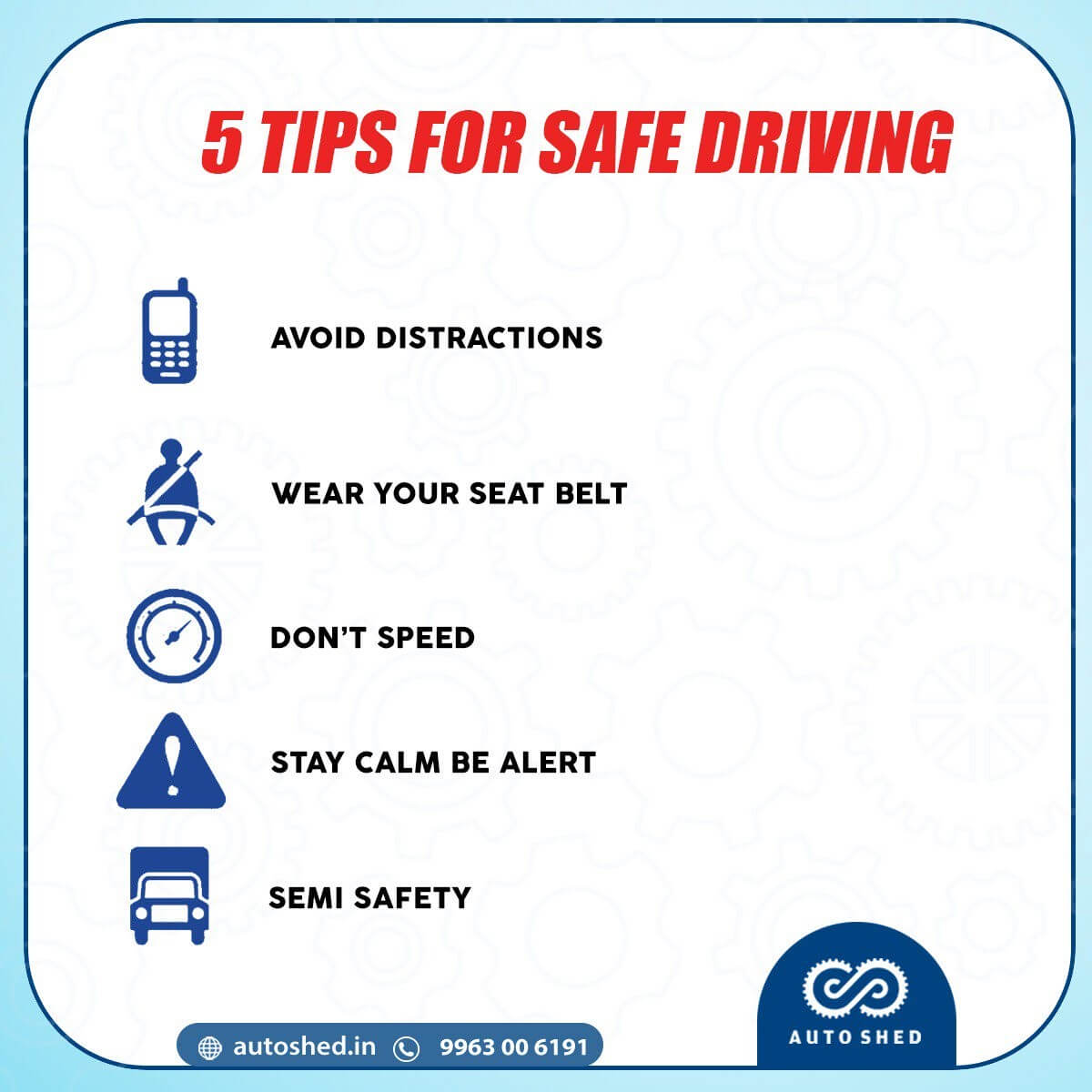 List things for safe driving