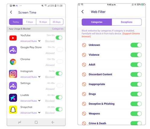 FamiSafe can block the dangerous app