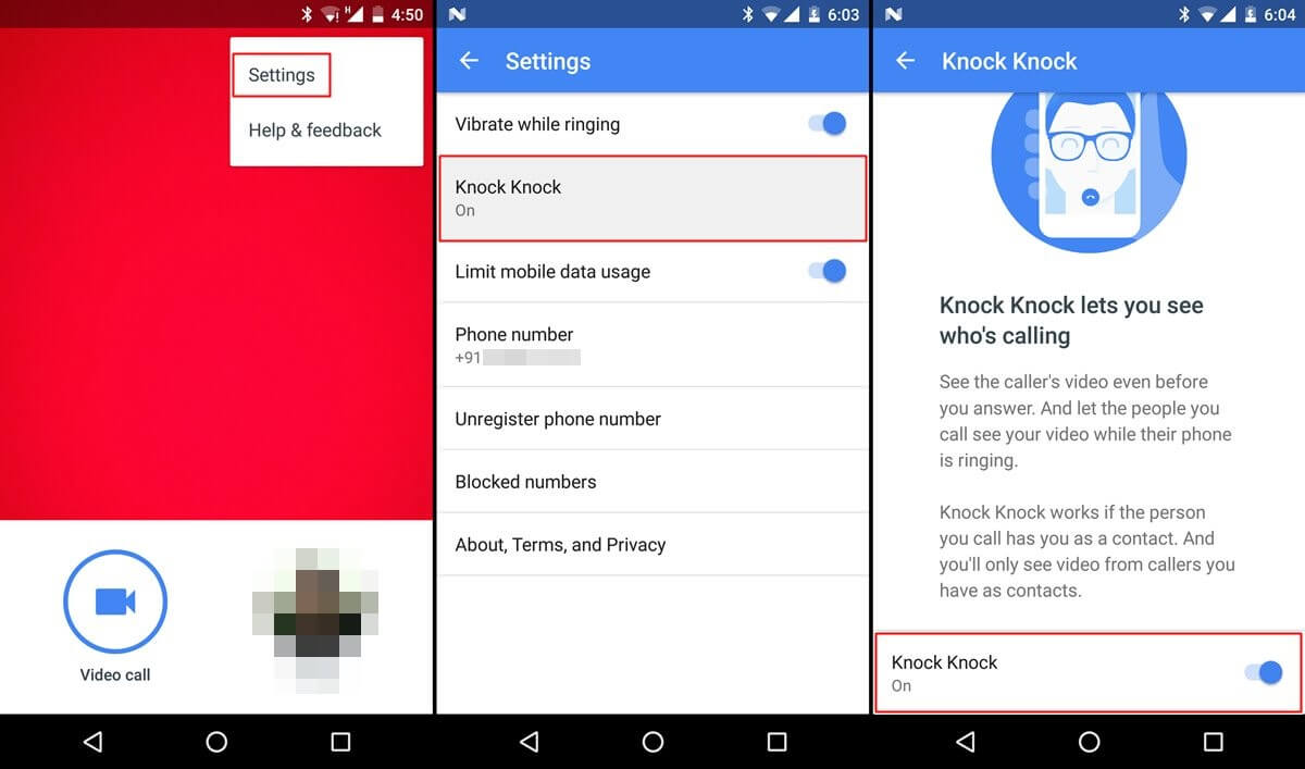 google duo app review - disable knock knock