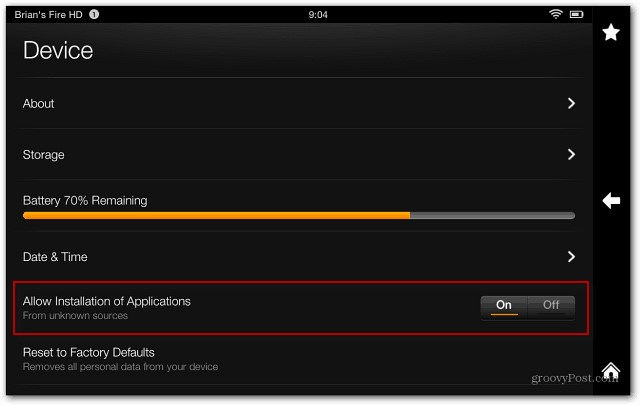 install Youtube on kindle fire - allow installation of applications