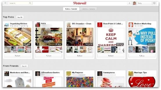 pinterest review - home feed