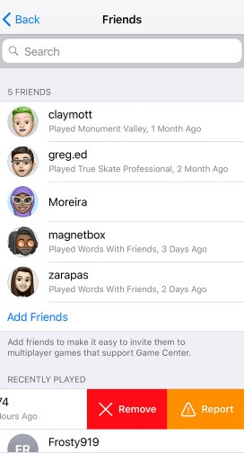 how to delete friends on Game Center