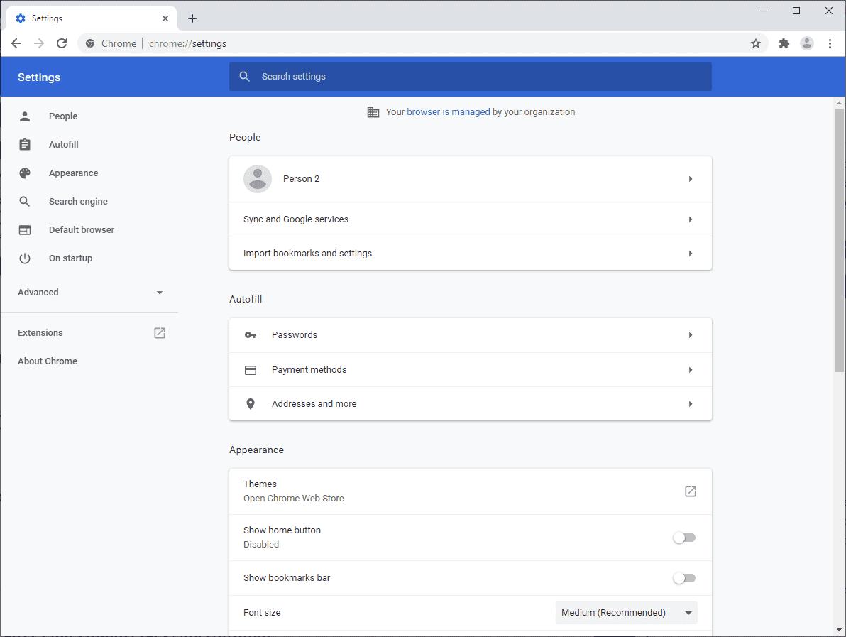 manage chrome security settings
