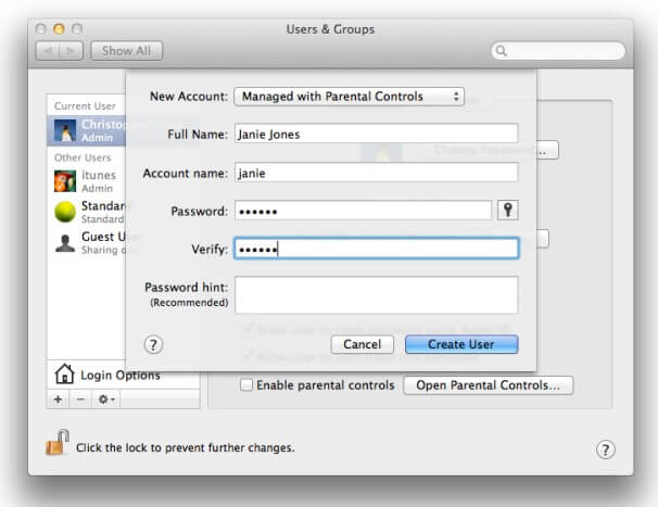create a new user account on mac- managed account
