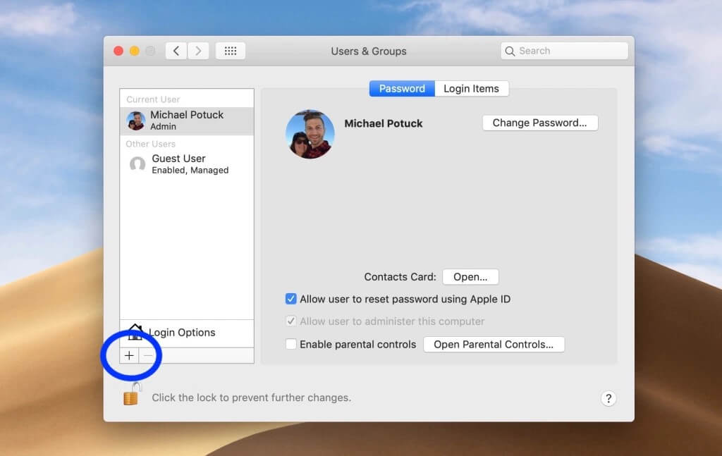 how to create a new user account on mac
