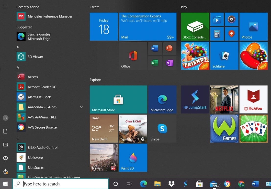 device manager windows 10 - start menu