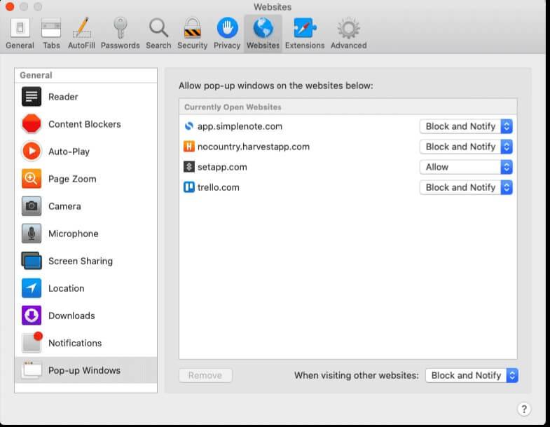 disable pop up blocker on safari mac