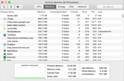 activity monitor mac Memory