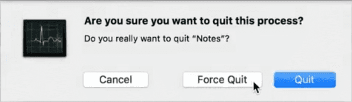 how to force quit mac application - activity report