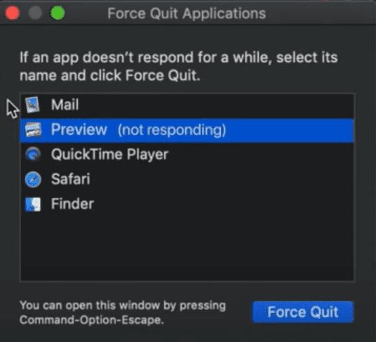 force quit mac application - check unresponsive app
