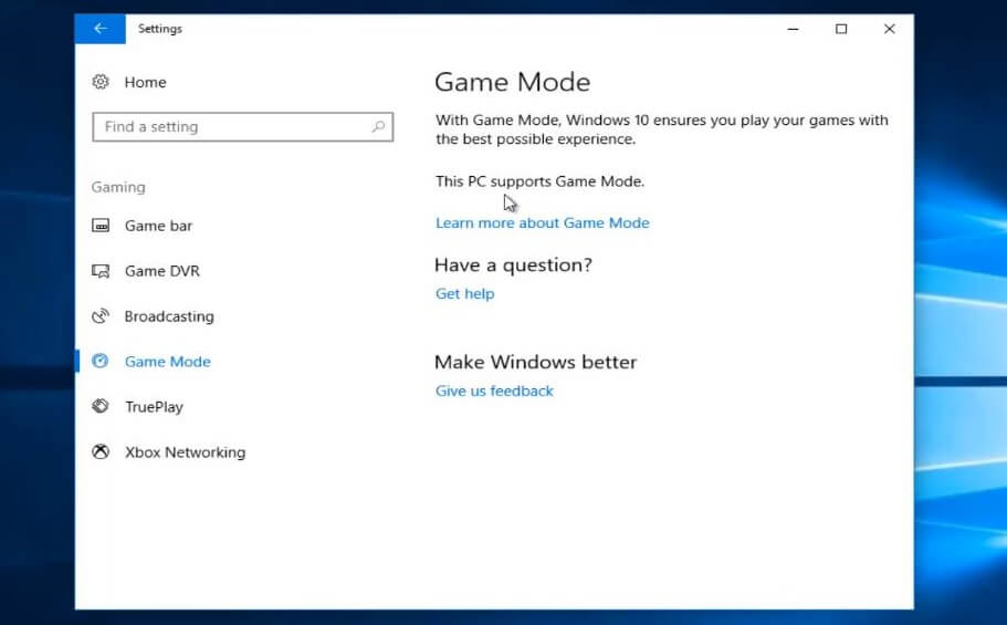 turn on game mode on your windows
