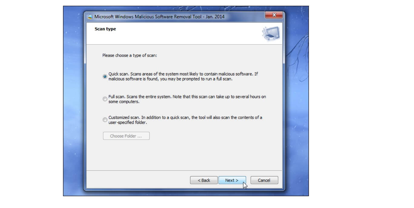 scan virus with windows malcious software removal tool