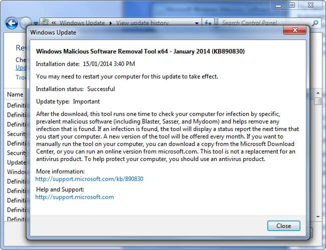 limitation of windows malcious software removal tool