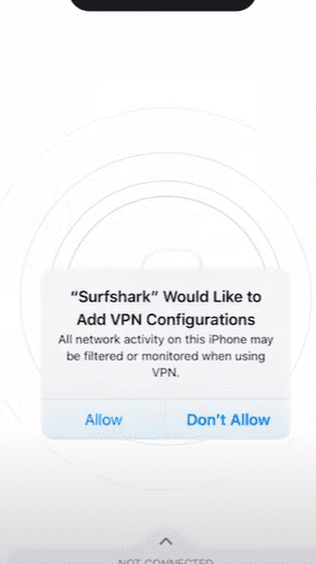 use vpn on iphone - tap quick connect