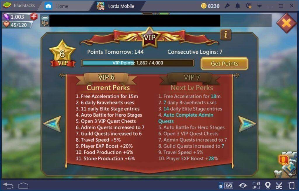lords mobile - vip system