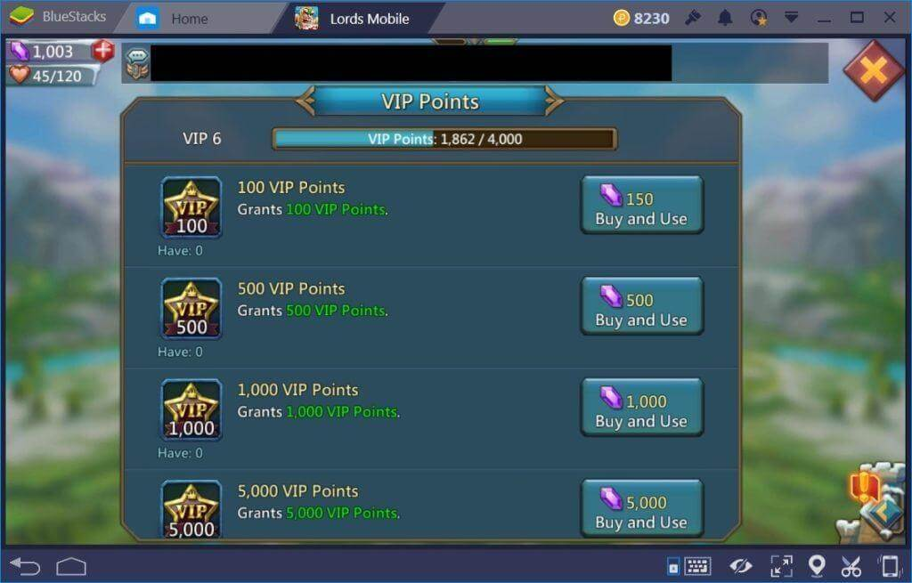 lords mobile - gain points in vip system
