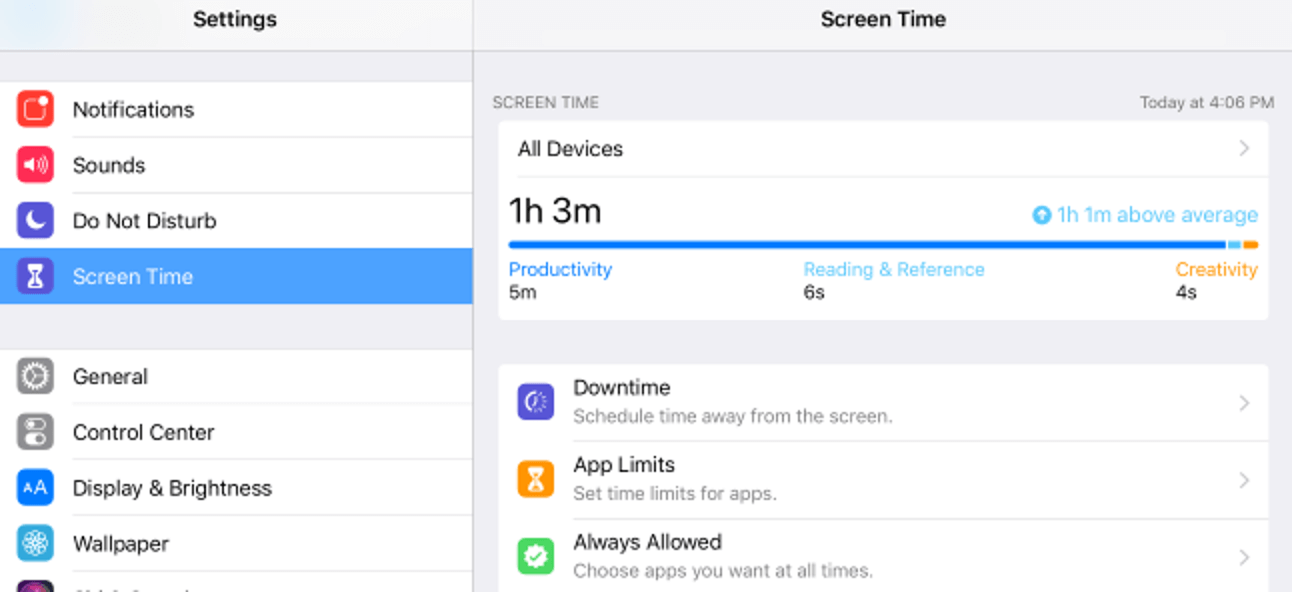 set screen time limit on iPhone