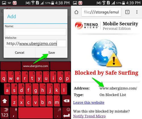 Trend Micro to block websites on android