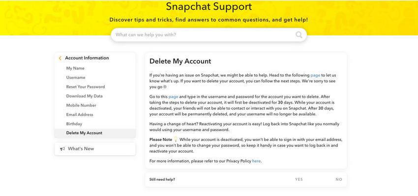 Como Eliminar Cuenta de Snapchat