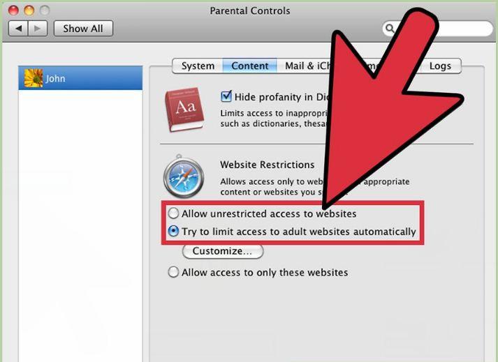 bloquer les sites pornographiques sur Mac
