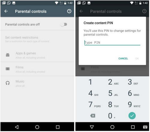 set up parental controls on Android Play Store