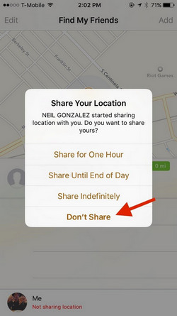 how to share location iphone