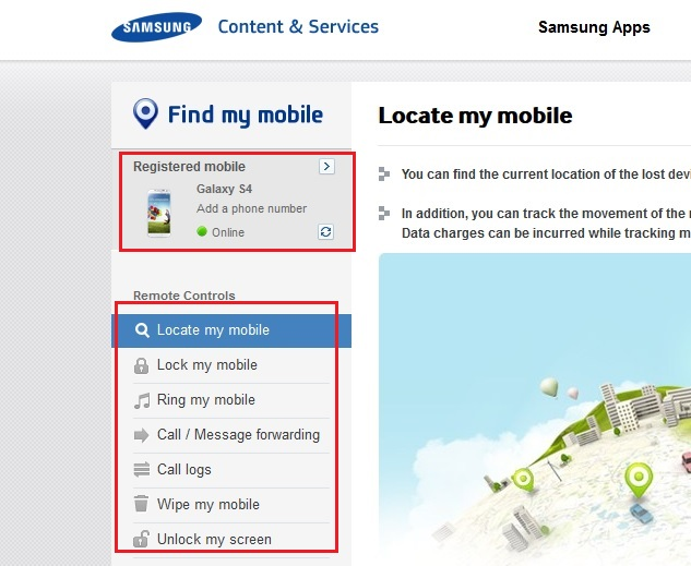 locate lost android phone using Find my Mobile by Samsung