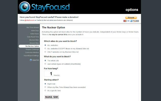 bloqueador de sitio web gratuito - StayFocusd