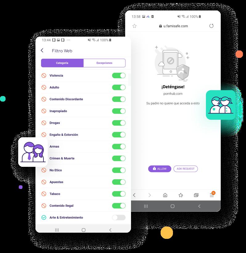 Filtra y bloquea sitios web en Android & iOS con FamiSafe