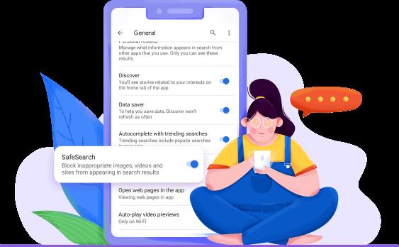 turn on google safesearch in google app