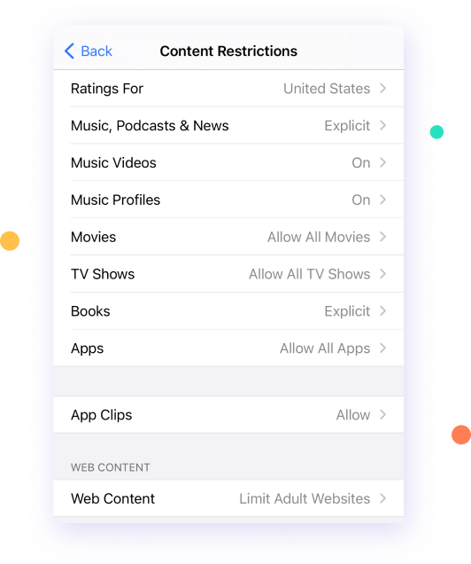 enable content restriction on iphone