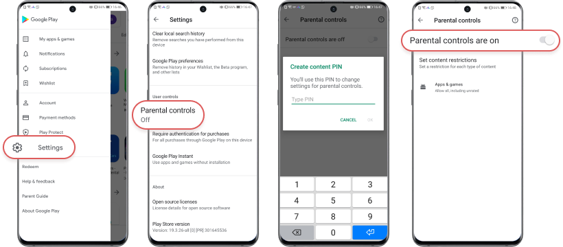 set YouTube parental controls with google play setting