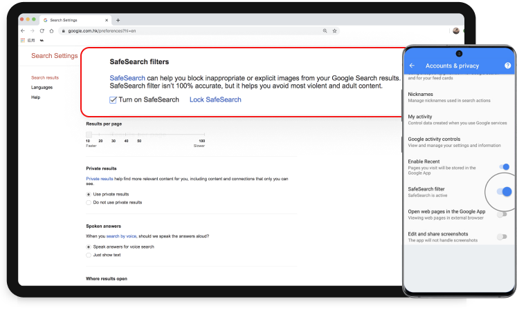 how to set parental controls on YouTube with safesearch