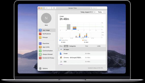 Mac catalina tiempo de pantalla