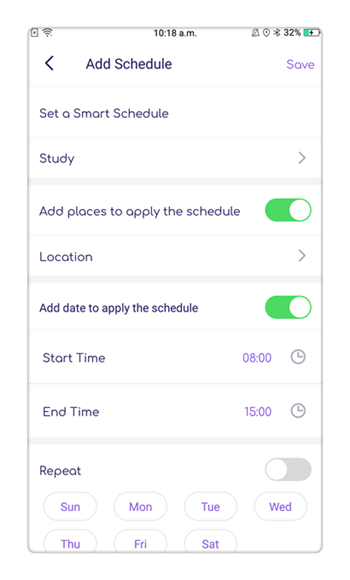 Intelligent Schedule feature