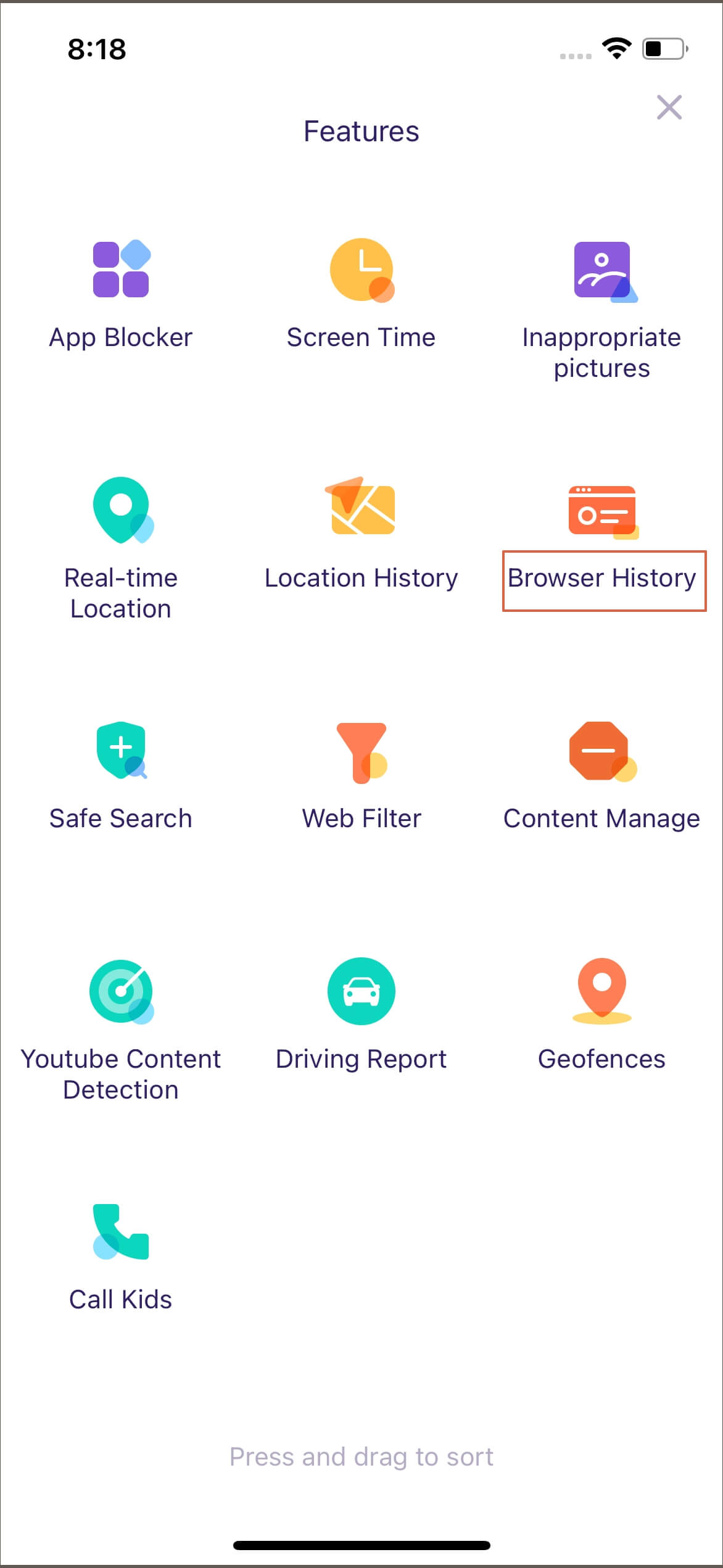 FamiSafe iOS browser history