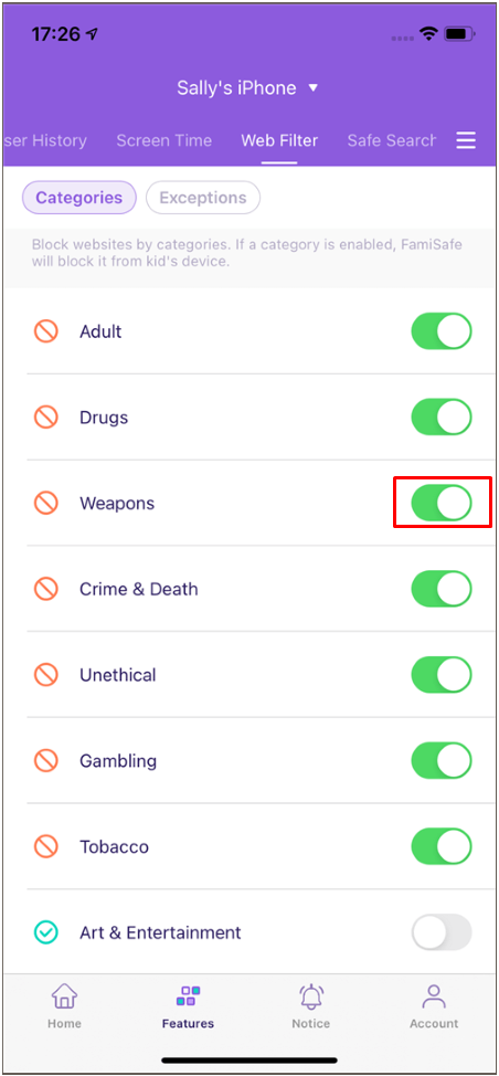 FamiSafe iOS Web Filter Toggle