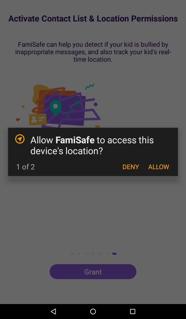 allow FamiSafe on the pop-up window